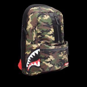 NWT Sprayground One Strap Side Shark Camo Backpack